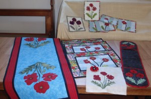 Poppy applique patchwork.